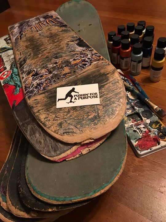 Shipping old skateboards to artist friends near and will be hosting a fundraiser art…