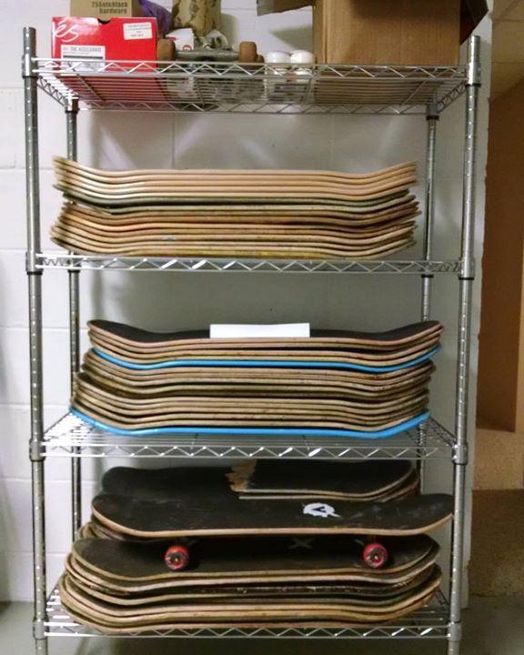 Our board rack is growing! #pittsburghskateboarding #skateboarding #getkidsoutside